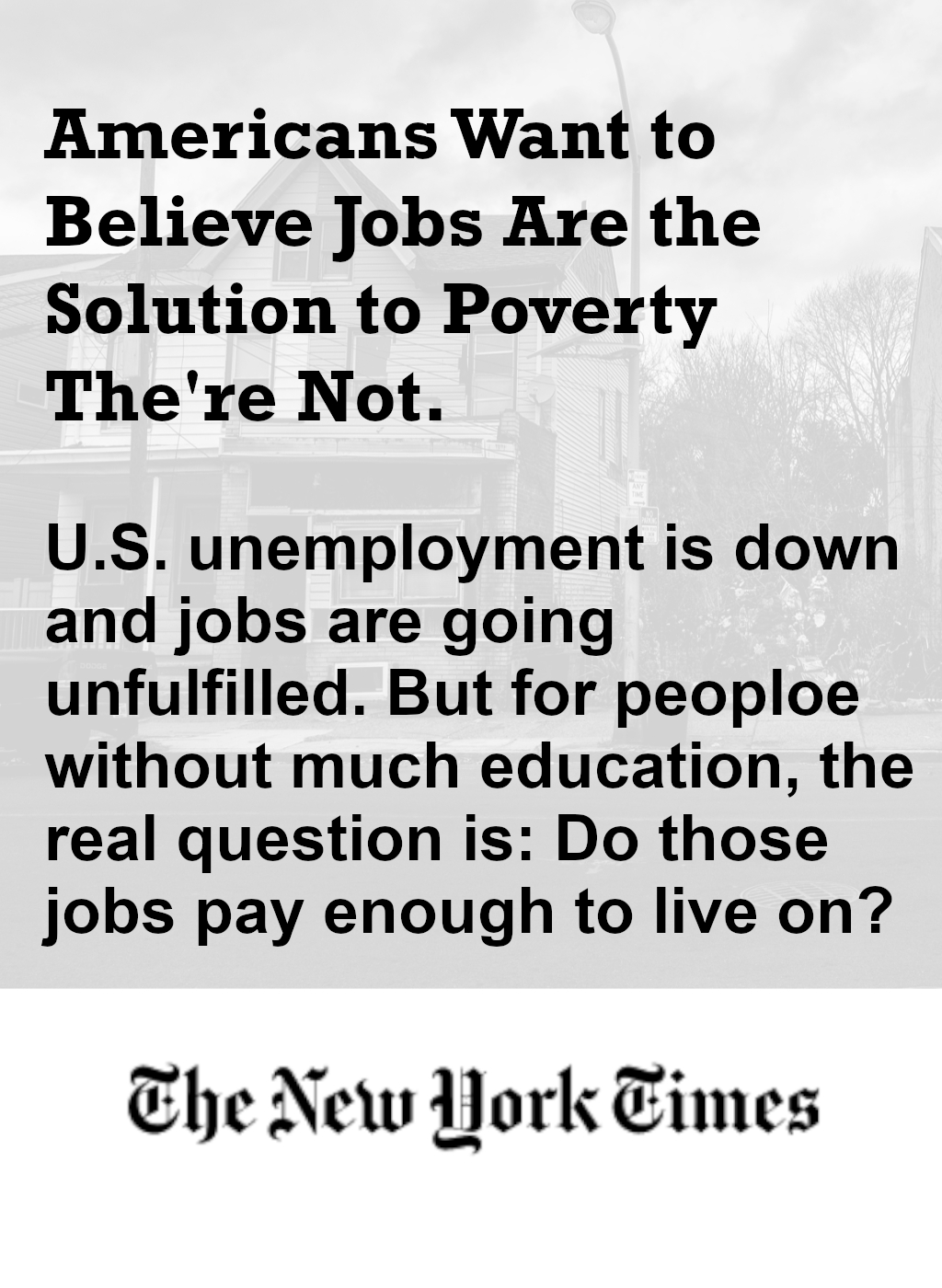Jobs Are Not the Solution to Poverty